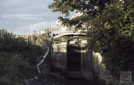 Bridge and locks on the Kennet and Avon Canal, Widcombe, Bath 1979