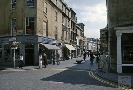 New Bond Street and Burton Street, at the bottom of Milsom Street, 1979