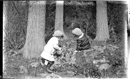 The Photographer's twin boys playing in Friary Woods, near Freshford, c.1913