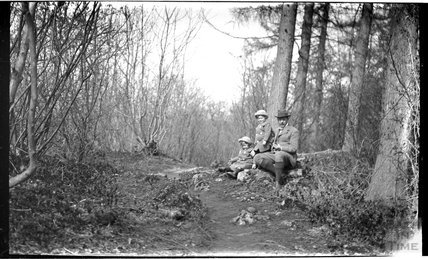 The Photographer and his twin boys in Friary Woods, near Freshford, c.1913
