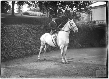 Lady on a horse, Monkton House, Warminster Road, Limpley Stoke c.1910s
