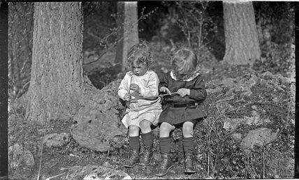 The Photographer's twin boys in Friary Woods, near Freshford, c.1913