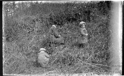 The Photographer's wife and twin boys in Friary Woods, near Freshford, c.1913