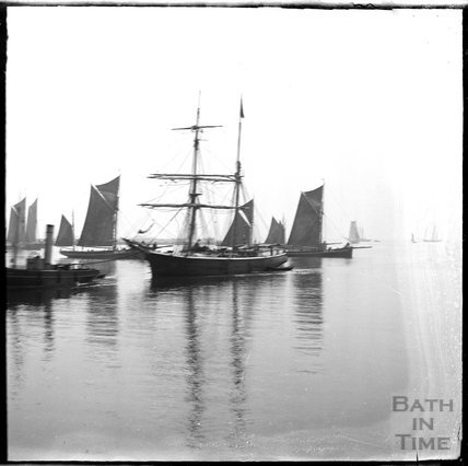 Sailing ships and a steam tug c.1900