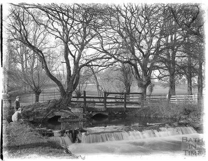 The weir with sluice gate at Shockerwick, c.1900