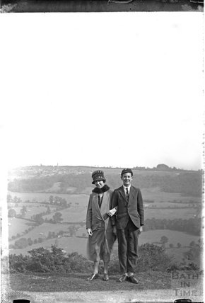 The photographer's wife Violet and son on top of Little Solsbury c.1920s
