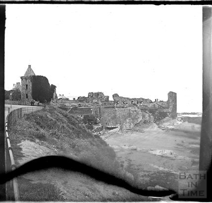 Coastal castle ruins of the castle at St Andrews, Fife, Scotland, c.1900