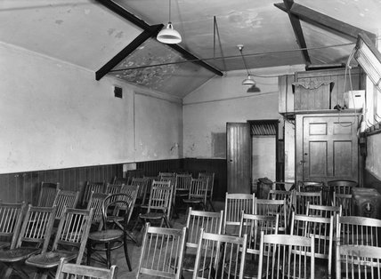 Inside Moorland Road Library before conversion, 20 Feb 1961