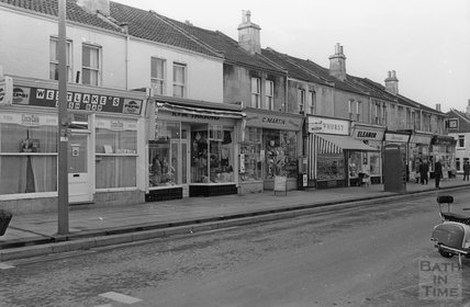Shops on Moorland Road, Oldfield Park December 1972