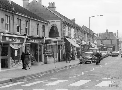 Shops on Moorland Road, Oldfield Park December 1975