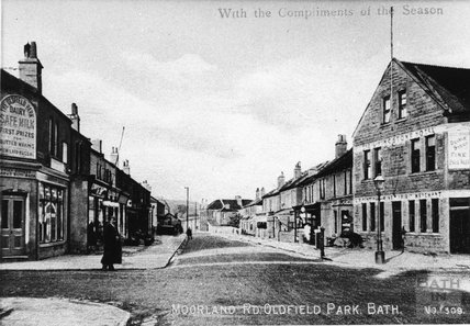 Moorland Road, Oldfield Park, including a rare view of the old Livingstone Inn in its old position on the corner of Livingstone Rd.  c.1920
