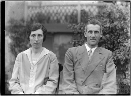 Portrait of an unidentified couple in the back garden of 32 Sydney Buildings, c,1930s
