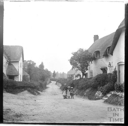 Unidentified country lane with children in the foreground c.1890s