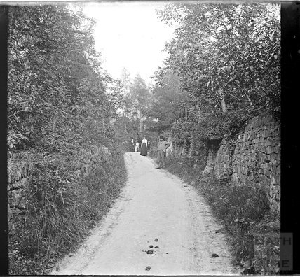 Unidentified country lane with people in the background, c.1890s