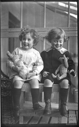 The photographer's twins at their house at 32 Sydney Buildings 1914