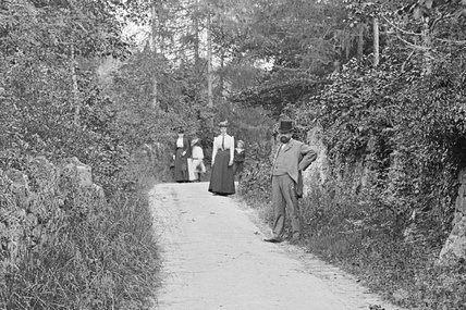 Unidentified country lane with people in the background c.1890 - detail