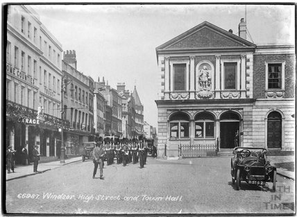 Copy of a postcard showing Windsor High Street and Town Hall, c.1920s