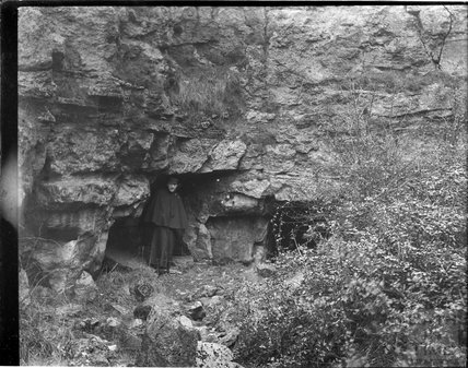 Posing in front of an entrance to a stone quarry, probably at Bathampton Rocks c.1890s
