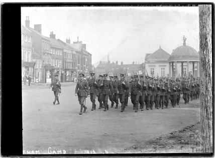Copy of a photograph of a military parade, Swaffham, Norfolk 1912