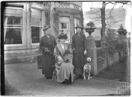 A group of three ladies outside Monkton House, Limpley Stoke c.1910s