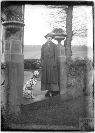 Lady and her Dalmatian dog at Monkton House, c.1900s