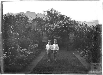 The photographer's twins in the garden of 32 Sydney Buildings, c.1917