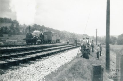 The engine Lion passing some film crew and spectators, Monkton Combe June / July 1952