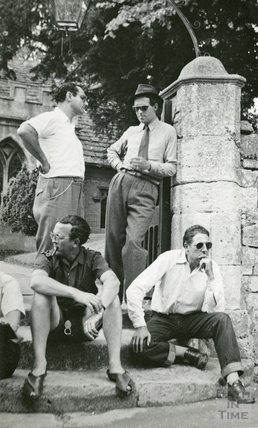 Actors and crew taking a break outside Freshford Church, June / July 1952