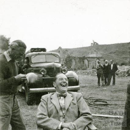 The actor Stanley Holloway on set filming the Titfield Thunderbolt, June / July 1952