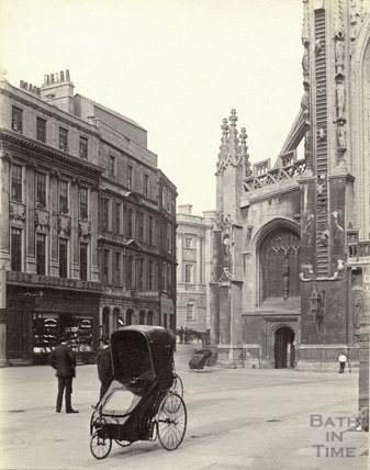A Bath chair outside the Abbey at Abbey Church Yard c.1890