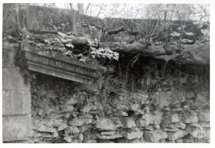Somersetshire Coal Canal, Midford aqueduct East Side, parapet block about to fall. November 16th 1968
