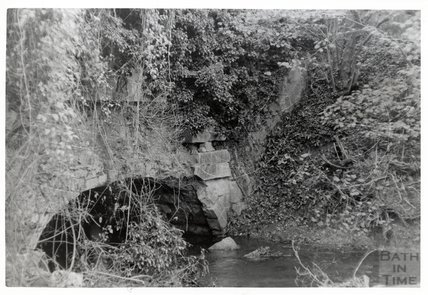 Somersetshire Coal Canal, Midford aqueduct West Side arch on South Side of Cam Brook November 16th 1968