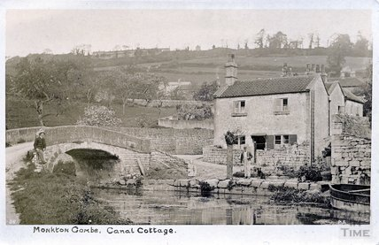 Monkton Combe, Canal Cottage Postcard, posted 1906
