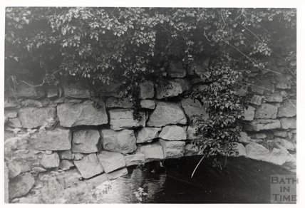 Somersetshire Coal Canal, Midford aqueduct West Side detail of crumbling arch November 16th 1968