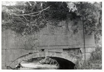 Somersetshire Coal Canal, Canal bridge near Midford East Side, main arch with plaque (still comparatively intact) November 16th 1968