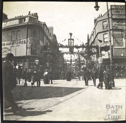Stall Street, Union Street beyond at time of Diamond Jubilee celebrations 1897