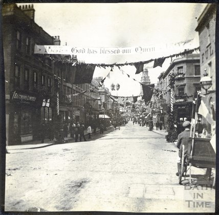 Southgate Street looking North towards St. James' Church Diamond Jubilee 1897