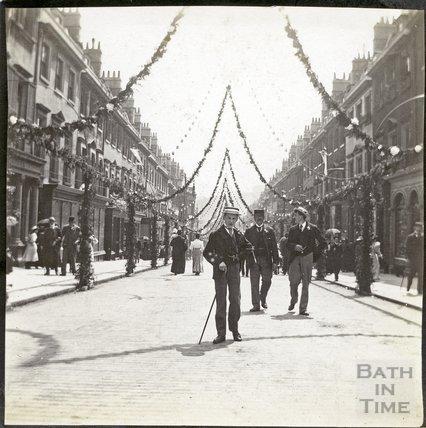 Celebrations of Diamond Jubilee 1897. Looking down Milsom Street December