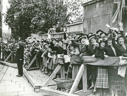 Visit of the Duchess of Kent, outside the Assembly Rooms, Bath, 1938