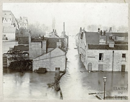 Dolemeads from the railway, Great Flood of Bath, 1894