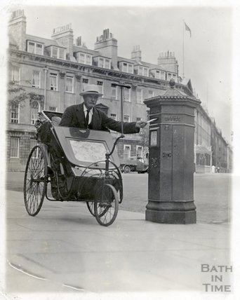 A man in a Bath Chair posts a letter at Laura Place, c.1930s
