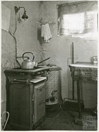 Slum Interiors. 34 Beechen Cliff Place, Holloway, Cooking & Washing facilities, c.1950s?