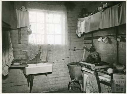 Slum Interiors. Southdown Housing scheme, 45 Oriel Grove, Cooking & Washing facilities, c.1950s?
