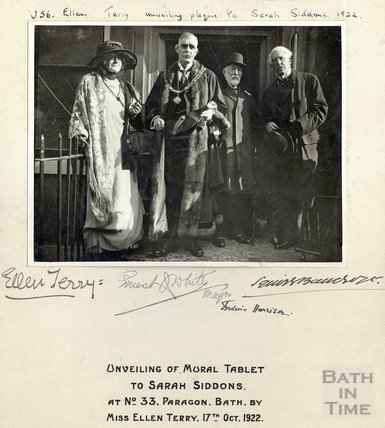 Ellen Terry unveiling tablet to Sarah Siddons, Number 33 Paragon, Bath October 17th 1922