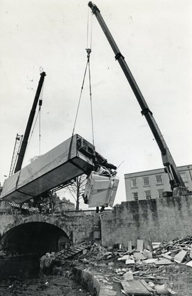 Removing the crashed lorry from the Kennet and Avon Canal, Bath 1984