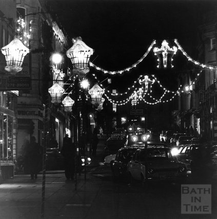 Christmas Lights in Milson Street, Bath, 1980