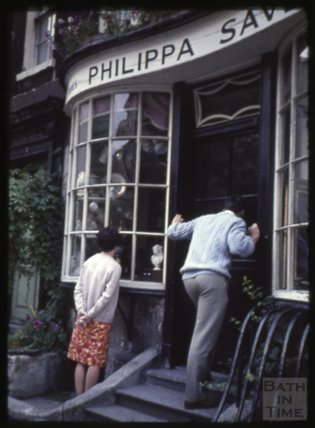 Philippa Savery's antique shop, Abbey Green, 1965