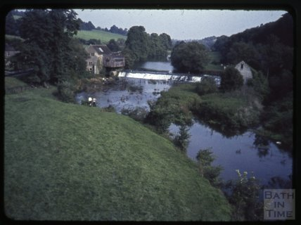 The weir and mill at Avoncliff, 1971