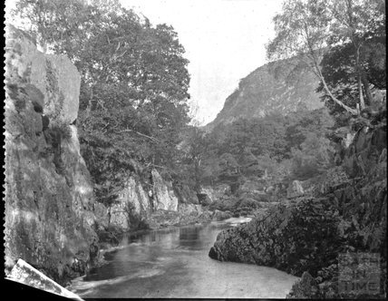 Unidentified gorge, river and hillside, c.1900s
