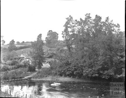 Cottage near stepping stones, unidentified location, c.1900s